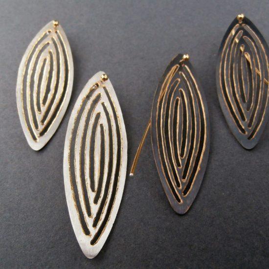 """Kolczyki """"Liście""""- srebro, srebro oksydowane, srebro złocone"""