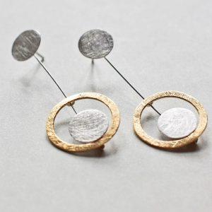 Kolczyki mini złoto srebrne
