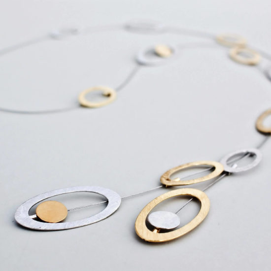 """Naszyjnik Krawat """"Elipsy"""" – naszyjnik długi, srebro pozłacane i srebro"""