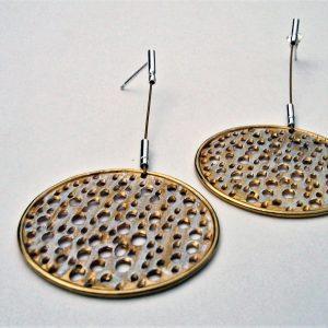 Kolczyki srebrno złote z cyrkoniami