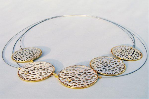 """Naszyjnik """"Sita"""" 5 elementów, 3 linki – srebro, srebro pozłacane i cyrkonie"""