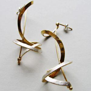 Kolczyki Supły złoto srebrne
