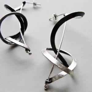 Kolczyki srebrno czarne