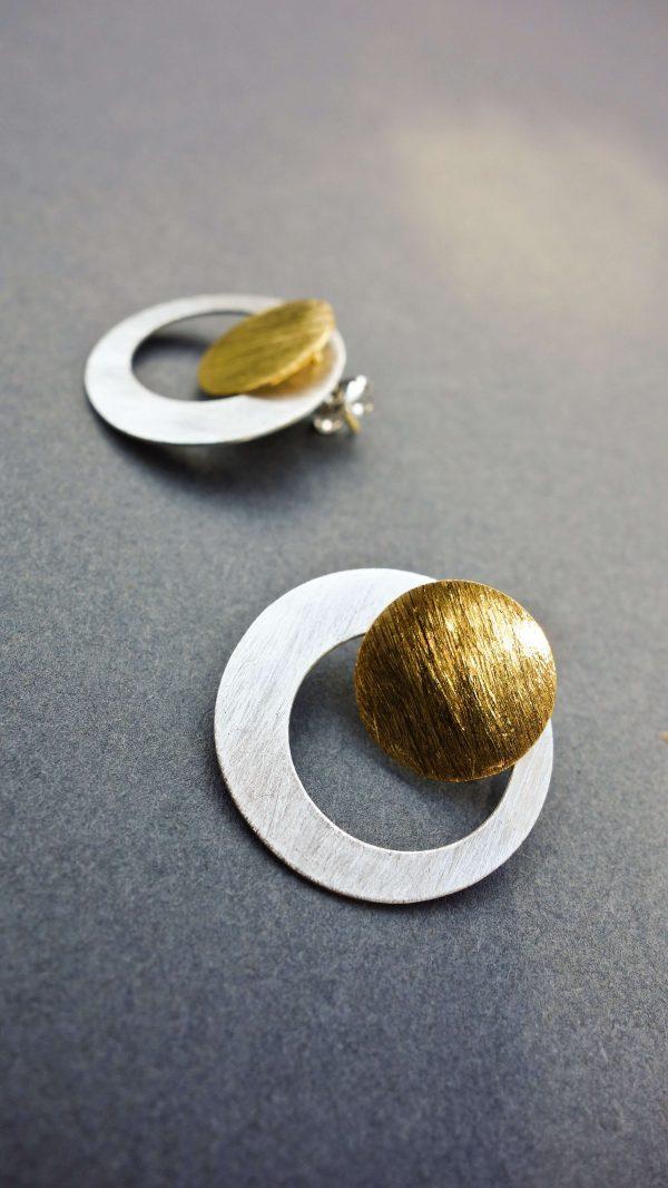 """Kolczyki koła """"New"""" mini srebrno - złote"""