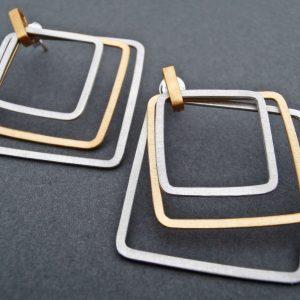 Kolczyki Atena- srebrno złote